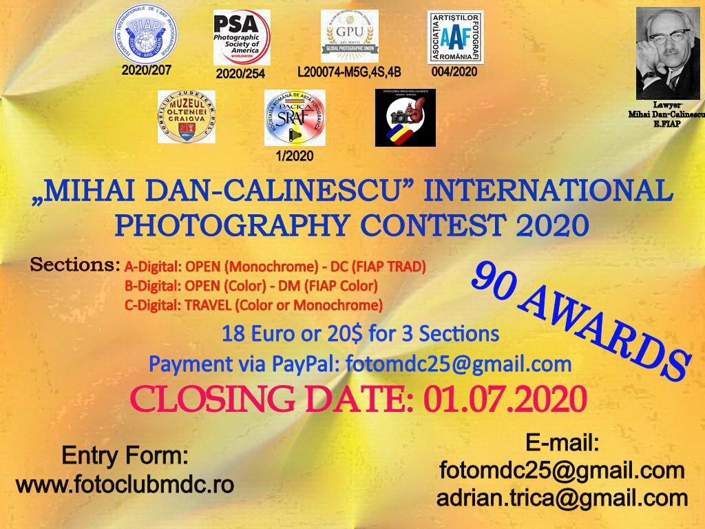 """MIHAI DAN-CALINESCU"" INTERNATIONAL PHOTOGRAPHY CONTEST (2020)"
