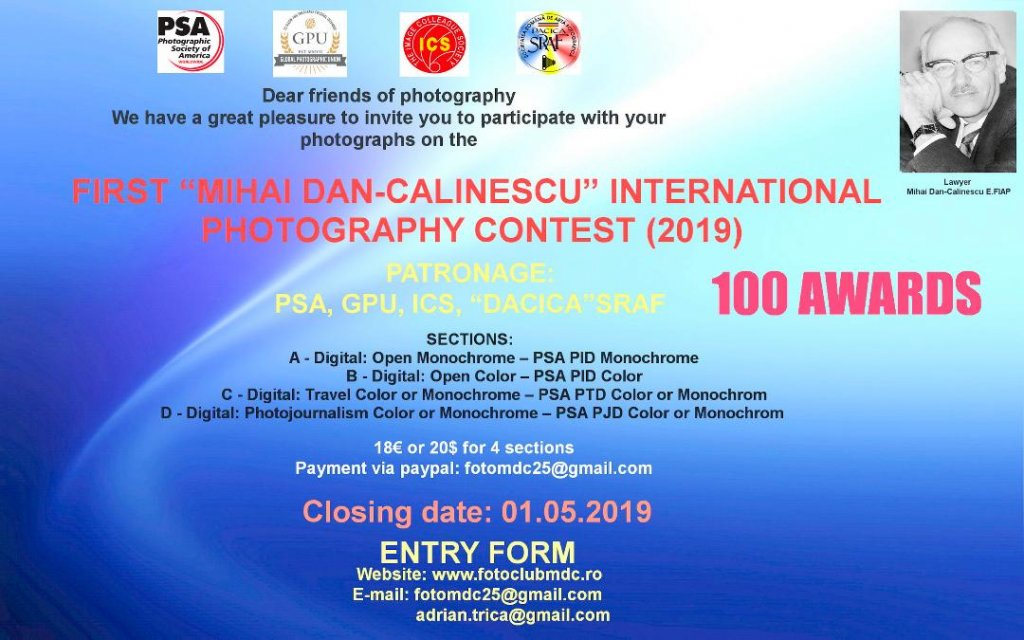 FIRST MIHAI DAN-CALINESCU INTERNATIONAL PHOTOGRAPHY CONTEST (2019)